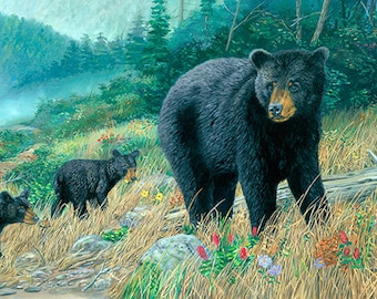 Black Bear Wall Decor, Large Wall Art Print, Large Bear Painting, Bear Cabin Wall Art, Bear Poster, Bear Print, Bear Art, Wildlife Art-5249