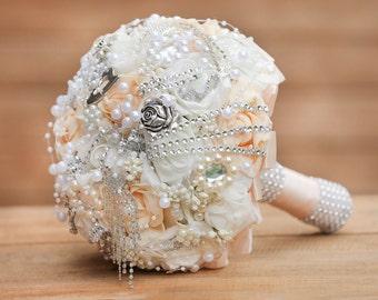 Wedding bouquet, Luxury handmade bridal bouquet, Bridal brooch bouquet, Elegant bouquet, Ivory and soft peach jeweled bouquet