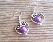 Bridal Earrings, Filigree Silver Heart Earrings, Purple Pearl Bead Hearts, Bridal Jewelry, Pearl Heart Earrings, Heart Jewelry