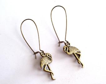 Flamingo Earrings, Brass Bird Earrings, Antiqued Brass Flamingo Earrings, Bronze Bird Jewelry, Pierced Dangle Earrings