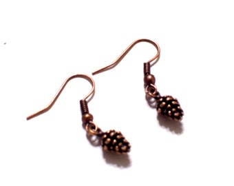 Pine Cone Earrings, Antiqued Copper Pine Cone Earrings, Copper Pine Cones, Nature Jewelry, Pierced Earrings
