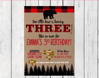 Little Bear Flannel 3rd Birthday or Any Age: Personalized birthday invitation- ***Digital File*** (Bear-Three)