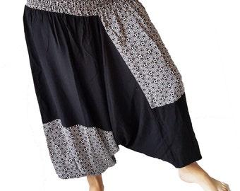 Black Patchwork Boho Floral Harem Pants*Plus Size Hippie Pants Beach Wear* Elastic Waist Pants*Wide Leg Pants*Maxi Yoga Trousers*Beach Pants
