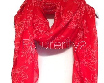 Lotus Flower Red Scarf / Spring Scarf / Summer Scarf / Autumn Scarf / Gift For Her / Women Scarves / Fashion Accessories