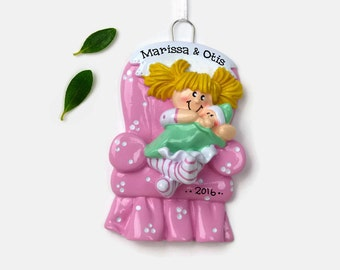 Big Sister Personalized Ornament - Blonde - New Baby - Hand Personalized Christmas Ornament