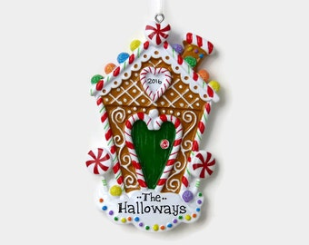 Gingerbread House Personalized Ornament - New Home - First Apartment - Hand Personalized Christmas Ornament