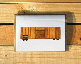 Pink & Tan Train Container greeting card