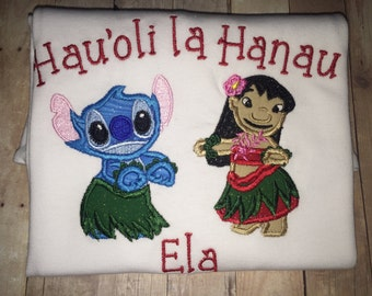 Girls Toddler Lilo and Stitch Hula Dancing Happy Birthday Personalized Boutique Shirt!! Embroidered Applique Shirt! Party Toddler Ohana