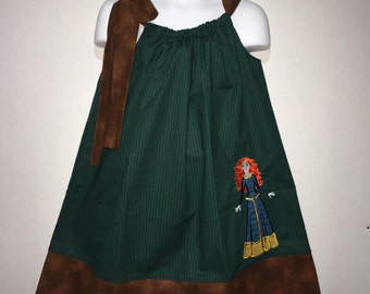Merida Princess Brave Irish Scotish Party Girl Pillowcase Pillow Case Girl Boutique Summer Sun Dress! Birthday Party Toddler Baby