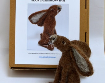 Needle Felting Kit Moon Gazing Hare suitable for beginners , Brown Hare using Exmoor Fleece