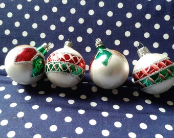 Vintage Glass Christmas Ornaments - set of 4