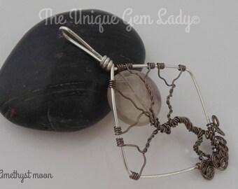 Amethyst Gemstone Moon Bare Winter Tree Of Life Pendant Square Handmade With Love