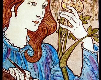 Girl with Hogweed stained glass , kilnfired, art nouveau stained glass, hogweed suncatcher, vitrail, classic stained glass, Eugène Grasset