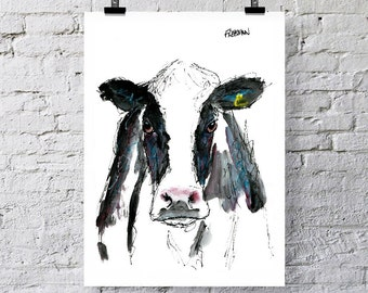 The Dairy Cow.  Art print / Greetings card