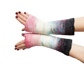 Mittens, fingerless gloves, arm warmers, white, black, pink - Feltmondo