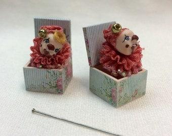Handmade miniature surprise box with clown.