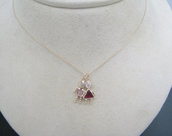 Nice 14k Yellow Gold Necklace with (2) Birthstone Babies (1) Girl & (1) Boy