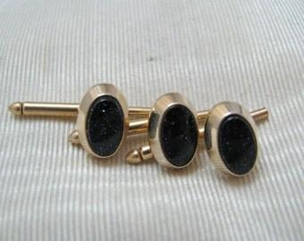 Vintage Handsome 14k Gold filled Dark Purple/ Black Sparkle Stones