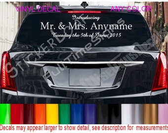 CUSTOM WEDDING NAMES Decal Sign Sticker Just Married Bride Groom Weddings Reception Announcement Car Limo Limousine Decals
