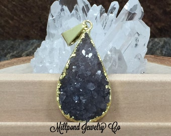 Teardrop Pendant, Teardrop Druzy Pendant, Druzy, Drusy, 18K Gold Plated Pendant, Only One Piece Available of Each, Natural, Purple, PG0918L