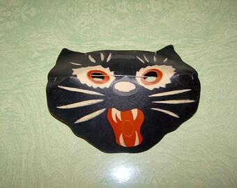 Vintage Halloween glow in the dark black cat cardboard face mask