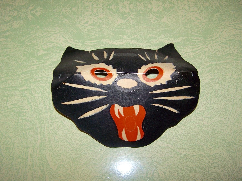 Vintage Halloween glow in the dark black cat cardboard face mask ...