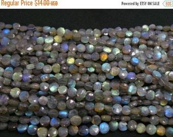 Labradorite Coin Beads line.Length 14 Inch,Labradorite Coin Beads,Finest Quality.Size 7 mm,,Labradorite Coin,
