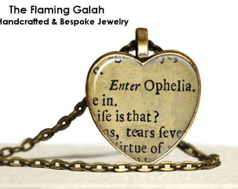 OPHELIA Shakespeare Pendant • Steampunk Jewelry • Heart Necklace • Quote Heart • Gift Under 20 • Made in Australia (P1067)