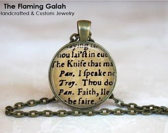 SHAKESPEARE PLAY Pendant •  Word Jewellery •  Gift for Actor • Gift Under 20 • Made in Australia (P0521)