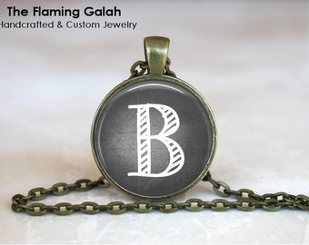 INITIAL Pendant •  Vintage Chalk Style • Letter Monogram • Name Initials • Gift Under 20 • Made in Australia (P0836)