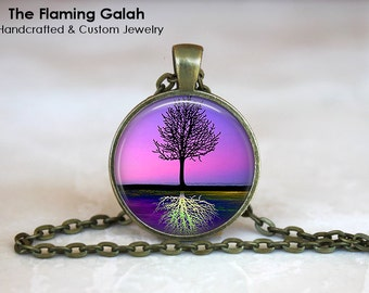 TREE REFLECTION Pendant •  Stunning Tree of Life •  Purple Tree of Life •  Purple Sunset • Gift Under 20 • Made in Australia (P0251)