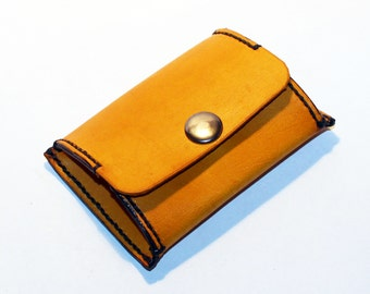 Leather coin wallet,yellow coin wallet, great leather item, yellow men's wallet, small coin wallet, gift for men.