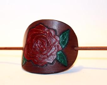 Leather Hair Barrette, Brown, Hair Stick, Hair Slide, Hair Pin, Embossed Flower! Great gift! Rose Hair Barrette! Hair Accessories!