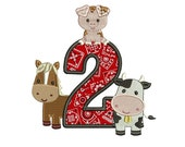 Second Birthday Farm Animals Applique Digitized Design Pattern - Instant Download - 4x4 , 5x7, and 6x10 -hoops