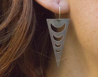 Antique moon Earrings, Moon Triangle Earrings, Triangle Moon Earrings, Boho Earrings, Crescent Moon Earrings, Handmade Goddess Jewelry