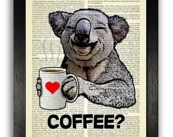 KOALA COFFEE Dictionary Art Print Poster, Mug of Coffee Gift Print, Koala Bear Wall Decor Print, Home Dorm Room Decor, Coffee Kitchen Art