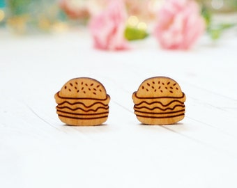 Wooden Burger Studs | Studded Earrings