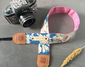 DSLR camera strap,Navy flower Camera Strap, leather camera Strap Gift for her