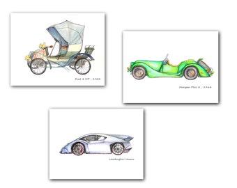 Car print nursery decor set 3 prints Transportation theme art Cabriolet Buggy Lamborghini painting Boys room wall art Vintage cars decor