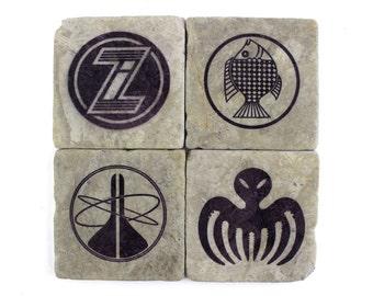 James Bond Villain Icons Marble Tile Drink Coaster Set