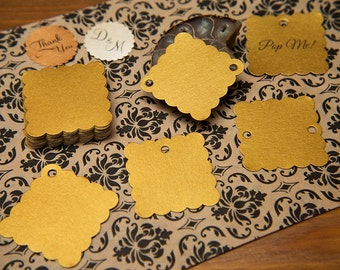 "200 Old Gold Pearlised 1.5"" Square Luxury Gift Tags, Blank Tags, Wishing Tree, Wedding favour tags, Jewellery Tags, wedding favors 1.5 inch"