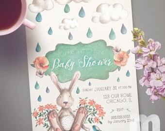 Bunny Baby Shower Printable Invitation/ Bunny, flowers, bird, flowers, rain shower, clouds