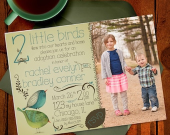 Adoption Announcement and Party Printable Invitation / Watercolor 2 little birds, photo