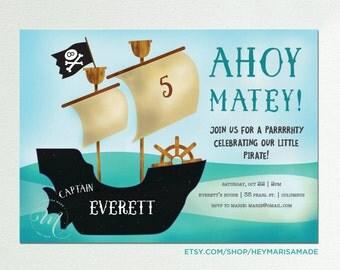 Pirate Invitation, Pirate Birthday Party, Pirate Party Invitation, Ahoy Matey, Pirate Ship, Digital 7x5 Printable Invitation