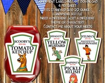 50% Off Sale-SCOOBY DOO Condiment Bottle Labels-Ketchup Bottle Labels-Invitations-Scooby Doo-Shaggy-Velma-Daphne-Stickers-Tags-Party Favors
