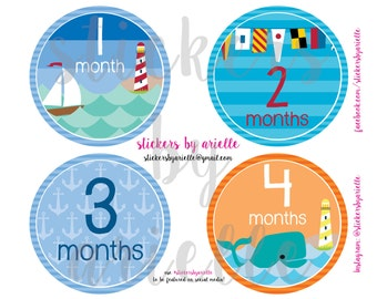 Month by Month Baby Boy Stickers - Nautical Theme