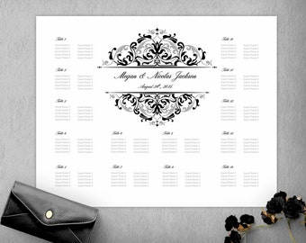 Black Silver Elegant Wedding Seating Chart Template, Seating Plan, DIY Seating Chart, Wedidng Sign, 16x20 Seating Poster, Instant Download