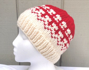 Knit Fair Isle hat - Red knitted hat - Chunky wool blend hat - Womens beanie - Womens knit hat