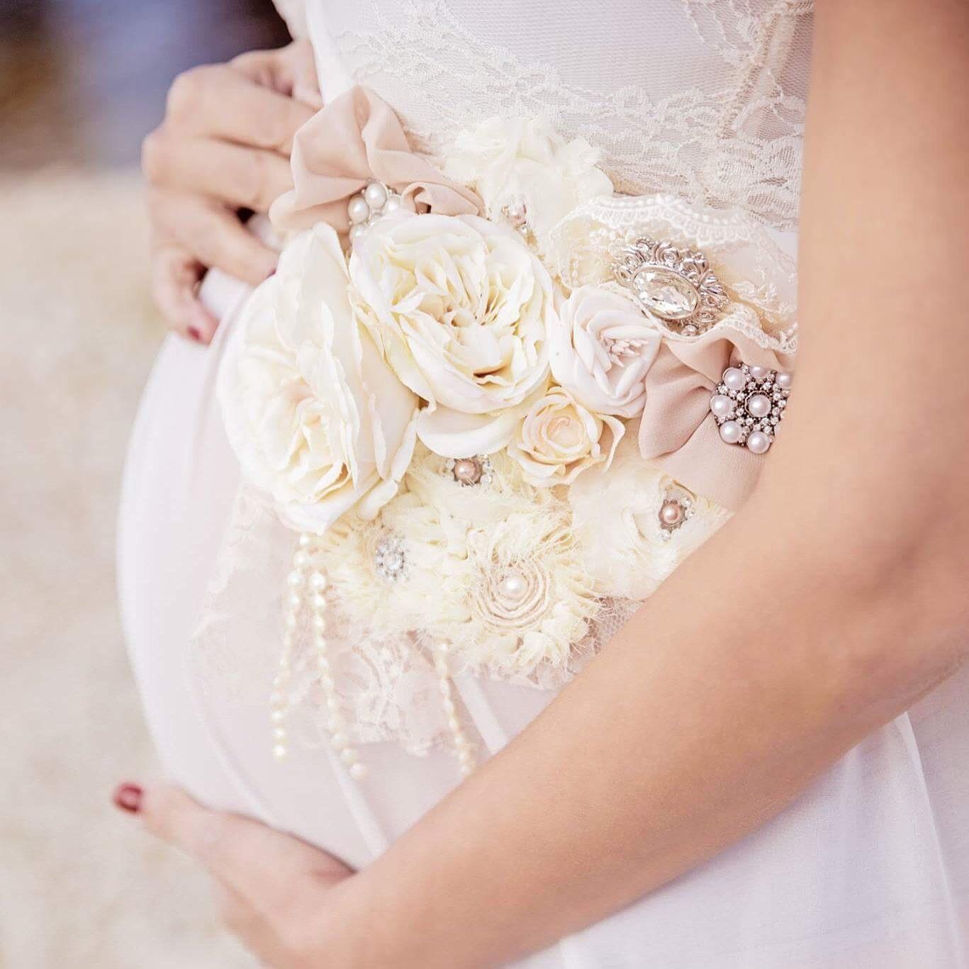 3 In 1 Vintage Beige Ivory Maternity Sash Bridal Sash Baby