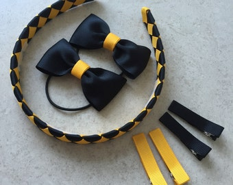 School hair accessories - yellow and black